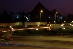 Long exposure photograph of traffic in Cairo