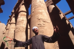 Historian standing in front of the Karnak Temple Complex