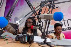 Female radio hosts in the studio