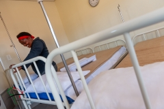 Woman inside of hospital ward
