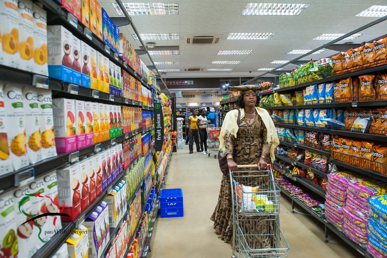 Female from the herero tribe shopping in a supermarket.