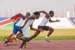 Track athletes sprinting