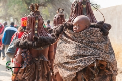 A child being carried on the back of a Himba woman