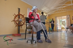 Elderly patient performing rehabilitation exercises