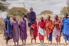A group of Maasai warriors jumping