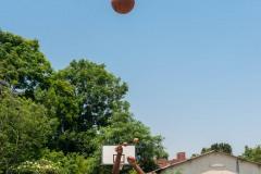 Boy shooting a basketball