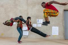 Acrobats practicing