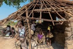 Girls inside a hut