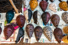 A collection of wooden masks