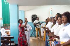 A choir performing at church