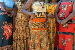 Women wearing dresses made out of chitenge cloth