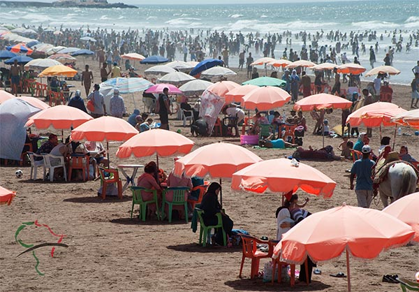 Beach goers in Morocco